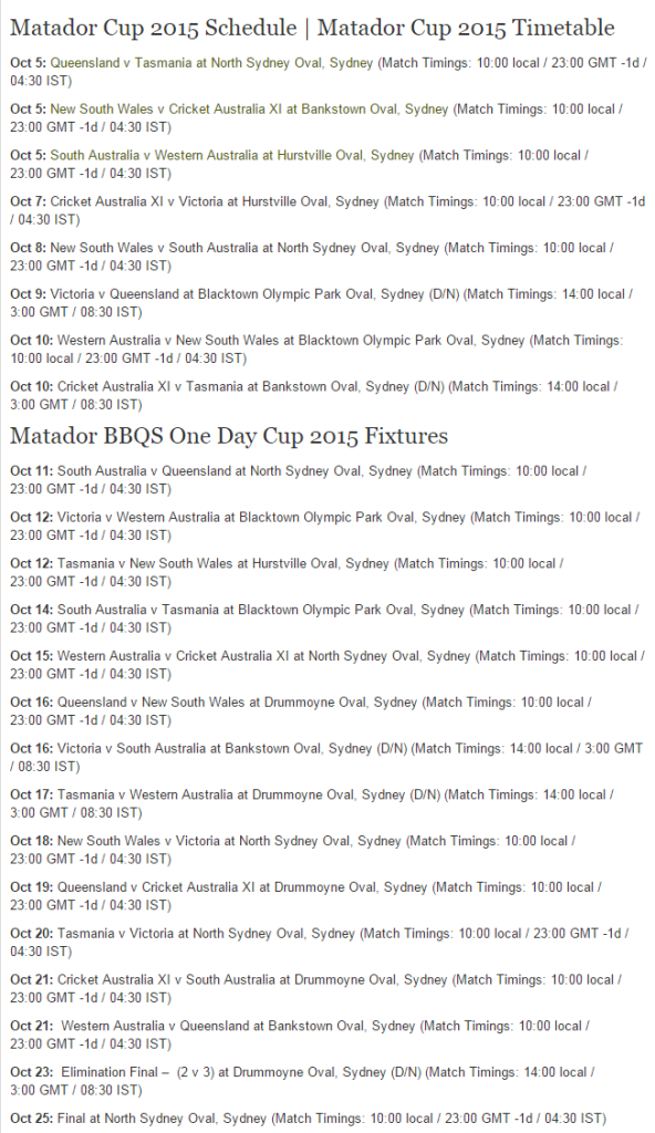 Matador BBQs One-Day Cup, 2015 Schedule Venues Fixtures
